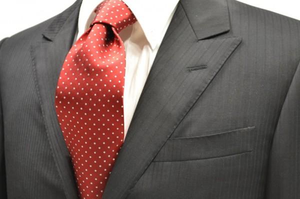 定番・市松模様 ネクタイ【レッドにホワイトのピン(1mm)ドット柄シルクサテンネクタイ】