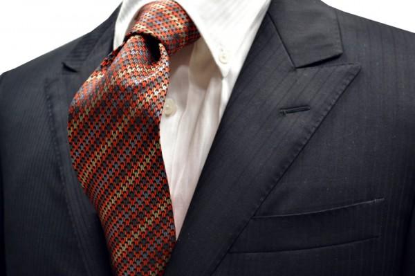 ネクタイ【オレンジとグレーと黒とベージュの千鳥のネクタイ】