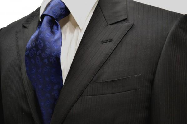 ネクタイ【濃いブルーのペイズリー柄・無地(ソリッド)ネクタイ】