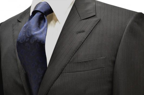 ネクタイ【濃いネイビーのペイズリー織柄・無地(ソリッド)ネクタイ】
