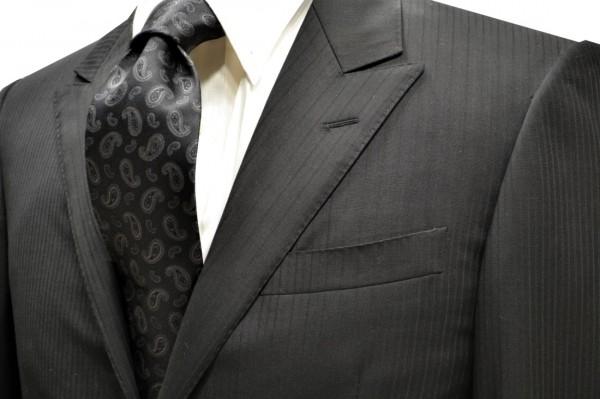 定番・市松模様 ネクタイ【ブラックのペイズリー織柄・無地(ソリッド)ネクタイ】