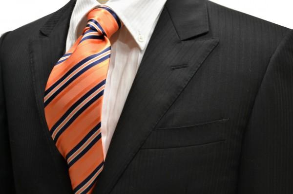 ネクタイ【オレンジ地にネイビーとホワイトのストライプネクタイ】