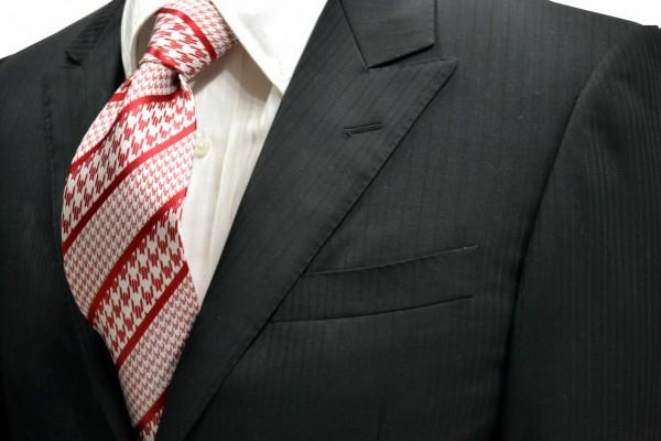 ネクタイ【赤と白の大小の千鳥格子のストライプネクタイ】
