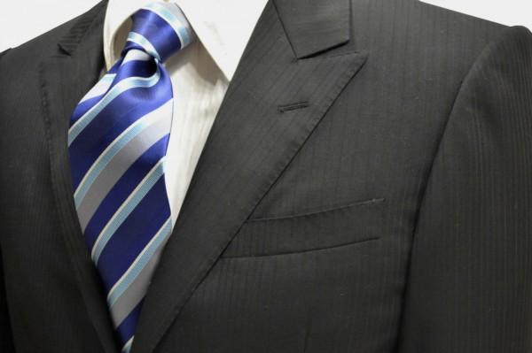 ネクタイ【紺と白と水色とグレーのストライプネクタイ】