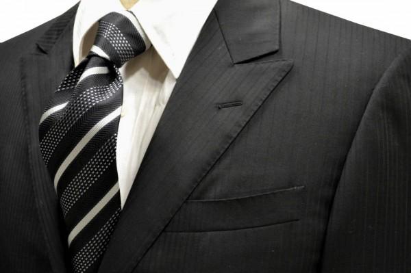 ネクタイ【黒に近い紺地にブルーとシルバーのストライプネクタイ】