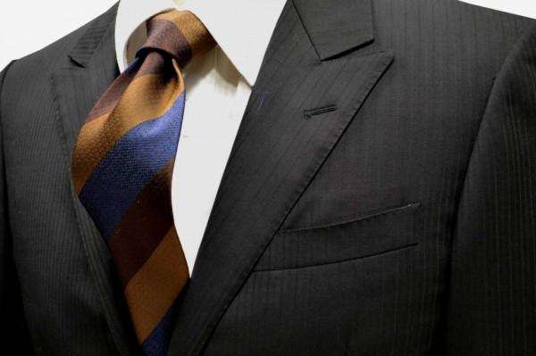 ネクタイ【焦げ茶色と茶色とブルーのストライプネクタイ】