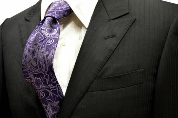 ネクタイ【紫の濃淡のペイズリー柄ネクタイ】