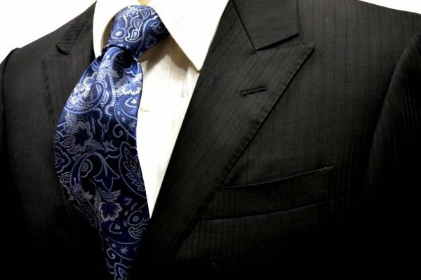 定番・市松模様 ネクタイ【紺地にシルバーとブルーのペイズリーネクタイ】