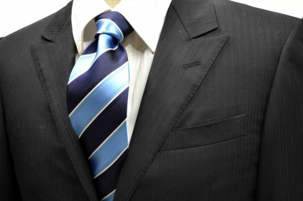 ネクタイ【濃い水色と濃い紺と細い白のストライプネクタイ】