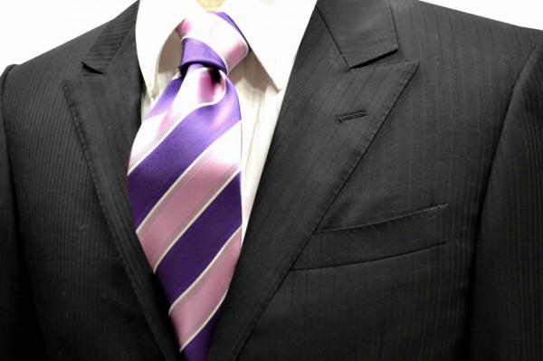 ネクタイ【ピンクと紫と細い白のストライプネクタイ】