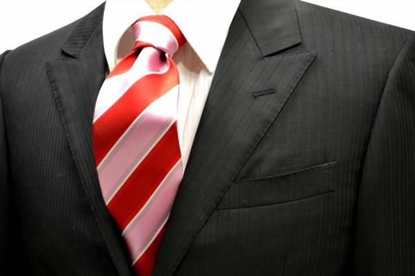 ネクタイ【レッドとピンクと細いホワイトのストライプネクタイ】