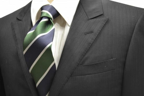 ネクタイ【ネイビーとグリーンと細かいホワイトのストライプネクタイ】