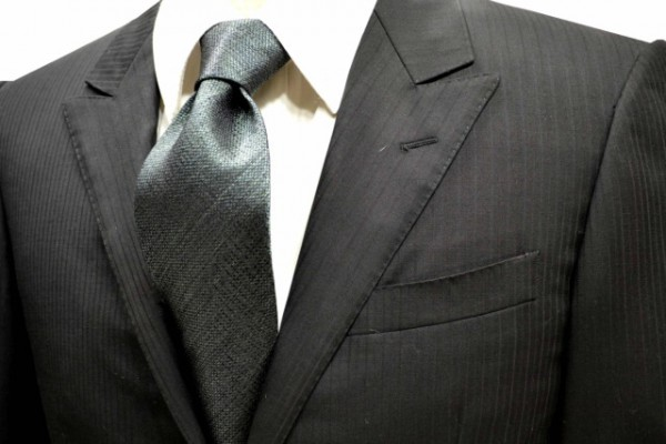 定番・市松模様 ネクタイ【モスグリーン(濃いグリーンのミックスの糸)ネクタイ】