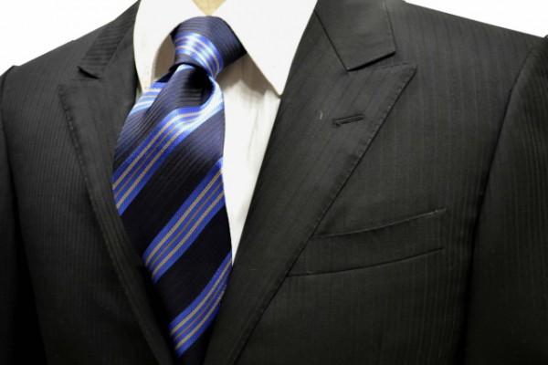 ネクタイ【濃いネイビーの織柄地にブルートベージュのストライプネクタイ】