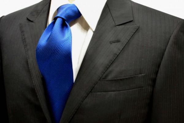 ネクタイ【濃いブルーのストライプ無地・ネクタイ】