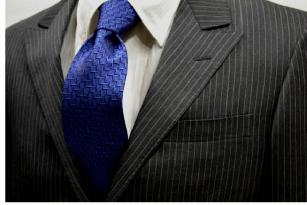 ネクタイ【ブルーの濃淡の小紋柄・無地ネクタイ】