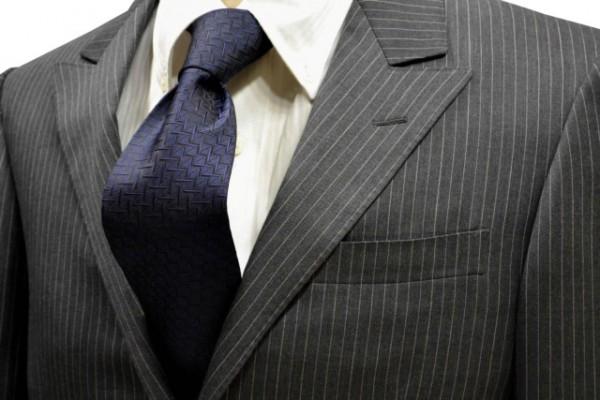 ネクタイ【濃いネイビー(ブラックに近い)の小紋柄・無地ネクタイ】
