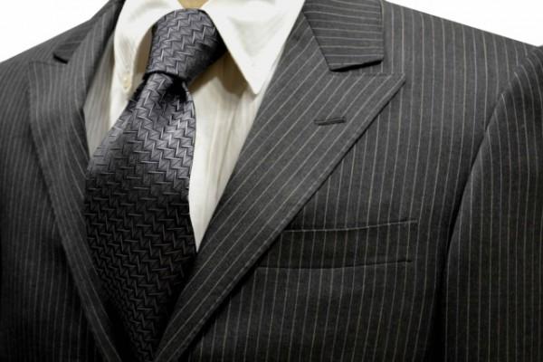 定番・市松模様 ネクタイ【グレーの濃淡・小紋柄無地ネクタイ】