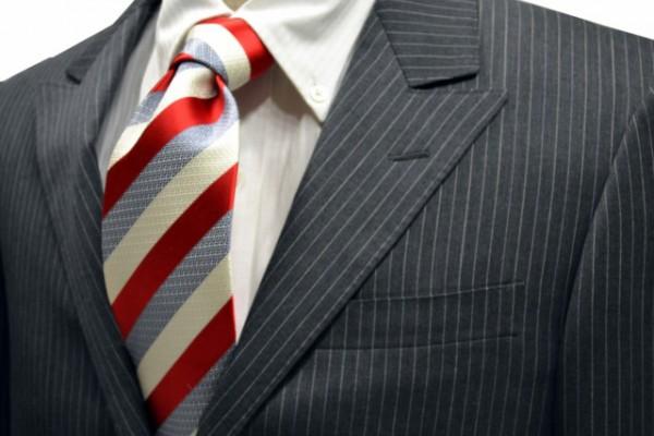 ネクタイ【オフホワイトとライトグレーとレッドのストライプネクタイ「】