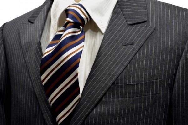 ネクタイ【紺地に白と茶色のストライプネクタイ】