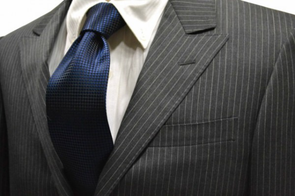定番・市松模様 ネクタイ【濃いネイビーバスケット織・無地ネクタイ】