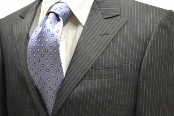 ネクタイ【水色地にコント黄色と白の小紋柄ネクタイ】
