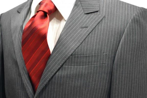 ネクタイ【レッドの濃淡のストライプネクタイ】
