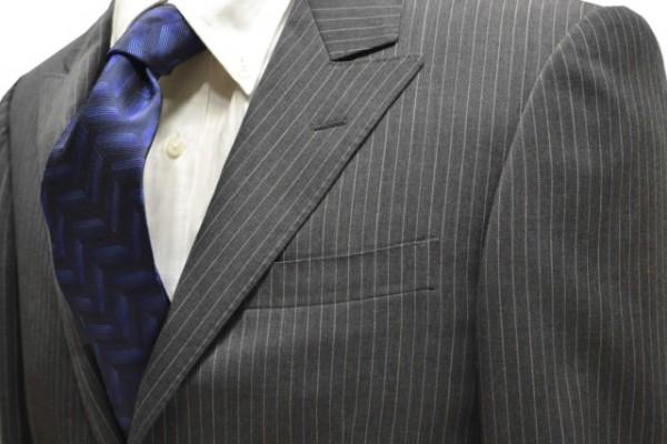 ネクタイ【黒地にブルー大柄ヘリンボーン変形ネクタイ】