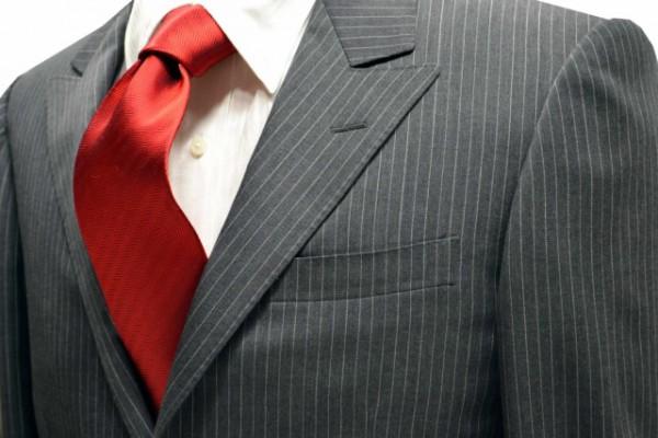 ネクタイ【濃い赤のヘリンボーン・無地ネクタイ】