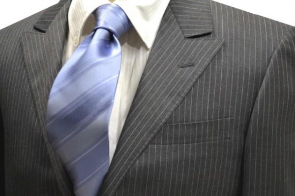 ネクタイ【濃い水色(サックス)織柄ストライプ無地ネクタイ】