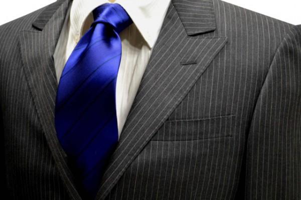 ネクタイ【濃いブルー織柄無地ストライプネクタイ】