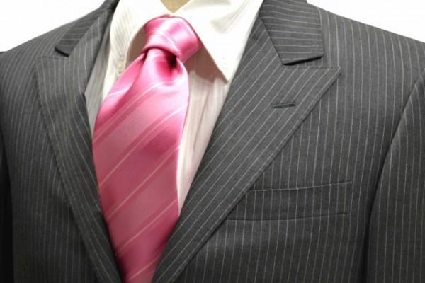 定番・市松模様 ネクタイ【濃いピンクの織柄ストライプ無地ネクタイ】