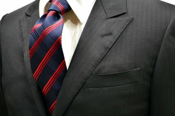 ネクタイ【濃い紺の織柄に赤のグラデーションストライプネクタイ】