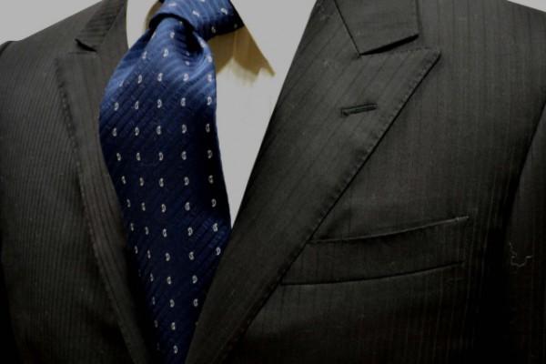 ネクタイ【ウール(wool)混・織柄無地ストライプにネイビーの小紋柄ネクタイ】