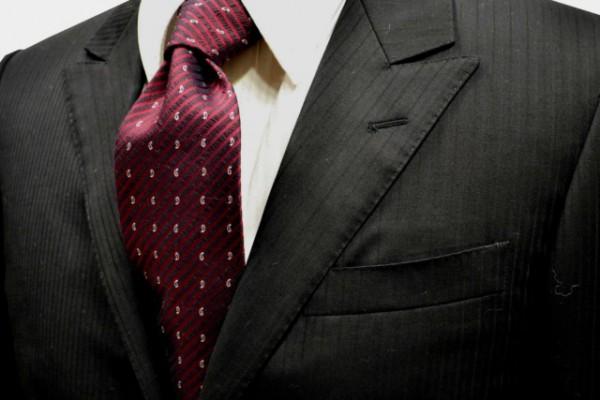 ネクタイ【ウール(wool)混織柄ストライプにエンジの小紋柄ネクタイ】
