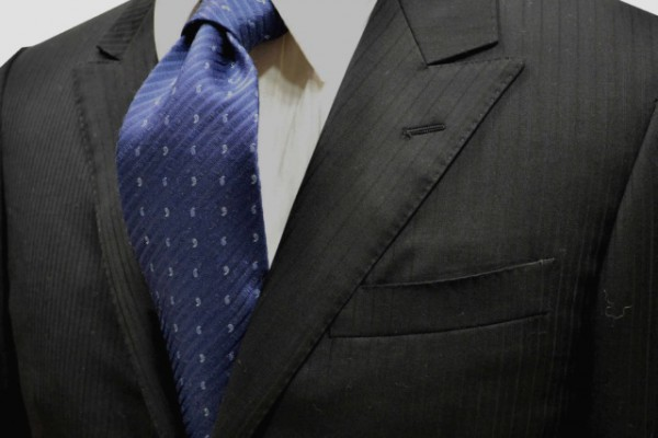 ネクタイ【ブルーグレーの織柄無地ストライプにらいとブルーグレーの小紋柄ネクタイ】