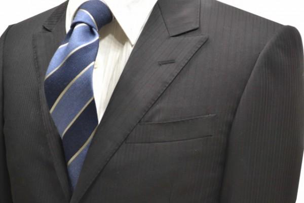 ネクタイ【ブルーグレーと紺のウール混ストライプネクタイ】