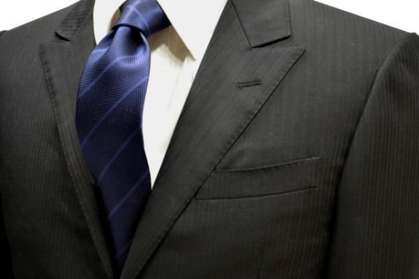 ネクタイ【織がヘリンボーン柄でネイビー地に細いブルーのストライプネクタイ】