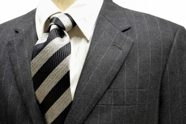 ネクタイ【黒縦縞とグレーミックスのストライプネクタイ】