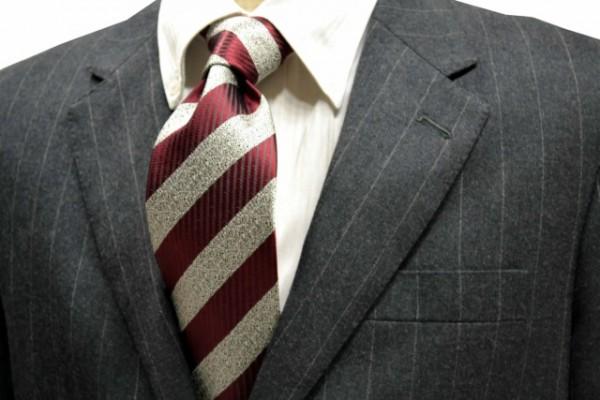 ネクタイ【ワイン縦縞とグレーミックス織のストライプネクタイ】