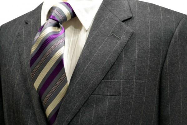 ネクタイ【グレーと生成りと明るい紫と茶のストライプネクタイ】