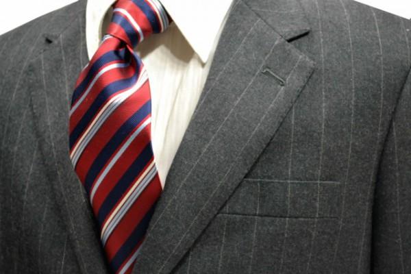 ネクタイ【濃い赤と紺と水色と白のストライプネクタイ】