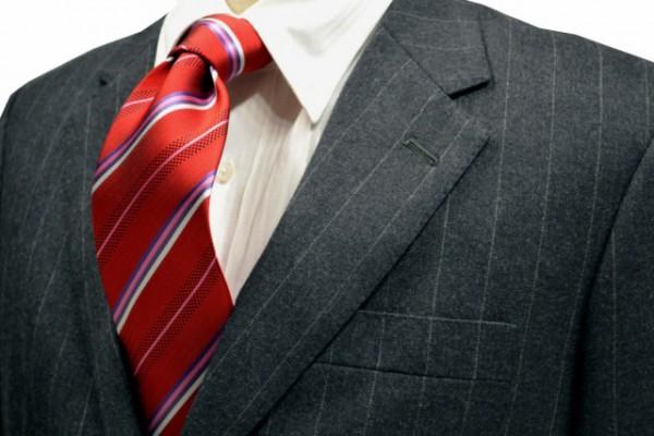 ネクタイ【レッド地に白とピンクとパープルと黒のストライプネクタイ】