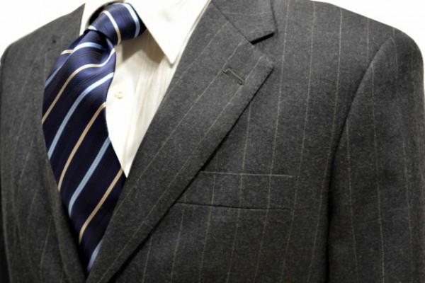 ネクタイ【紺地に水色とオレンジのストライプネクタイ】