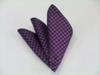 ポケットチーフ【少し明るめの紫(パープル)市松模様ポケットチーフ】