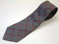 グレンチェック ネクタイ【白と黒のグレンチェックに赤のふちどりのネクタイ】