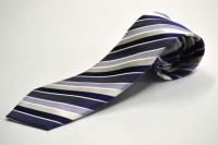 市松ネクタイ【濃い紫と紫と白のストライプネクタイ】