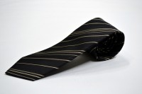 市松ネクタイ【ブラック地に織柄のブラックとベージュとグレーのストライプネクタイ】