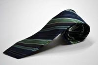 市松ネクタイ【紺地にグリーンの濃淡と白のストライプネクタイ】