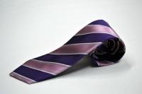 市松ネクタイ【ピンクと紫と細い白のストライプネクタイ】